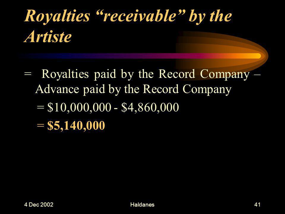 4 Dec 2002Haldanes40 Royalties accounted to by the Record Company to the Artiste (1)Net Sales = 500,000 copies – 20% ( free goods ) = 400,000 copies (2)Royalty Base Price = Actual Invoice Price x 90% = $90 x 90% = $81 (3)Royalties = Net Sales x Royalty Base Price x Royalty Rate = $(400,000 x 81 x 15%) = $4,860,000