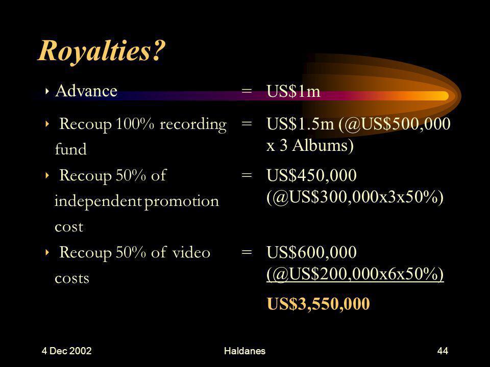 4 Dec 2002Haldanes43 4.3 Braxton Phenomena AssumptionLess Advance on 3 Albums=US$1,000,000 US tax @50% on gross=US$500,000 Management @15% on gross =US$150,000 Lawyers @50% on gross =US$ 50,000 TotalUS$700,000US$ 300,000