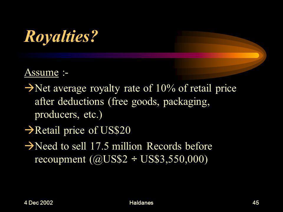 4 Dec 2002Haldanes44 Royalties.