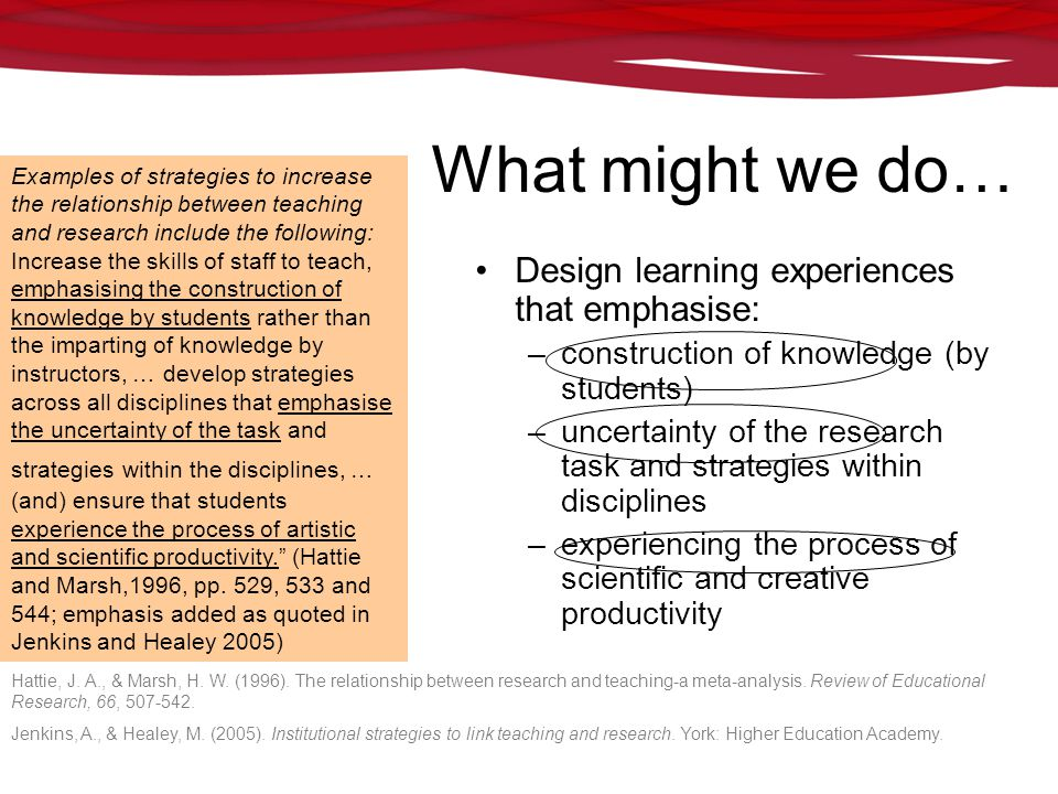 GIHE learning. teaching. higher education research What might we do… Design learning experiences that emphasise: –construction of knowledge (by studen