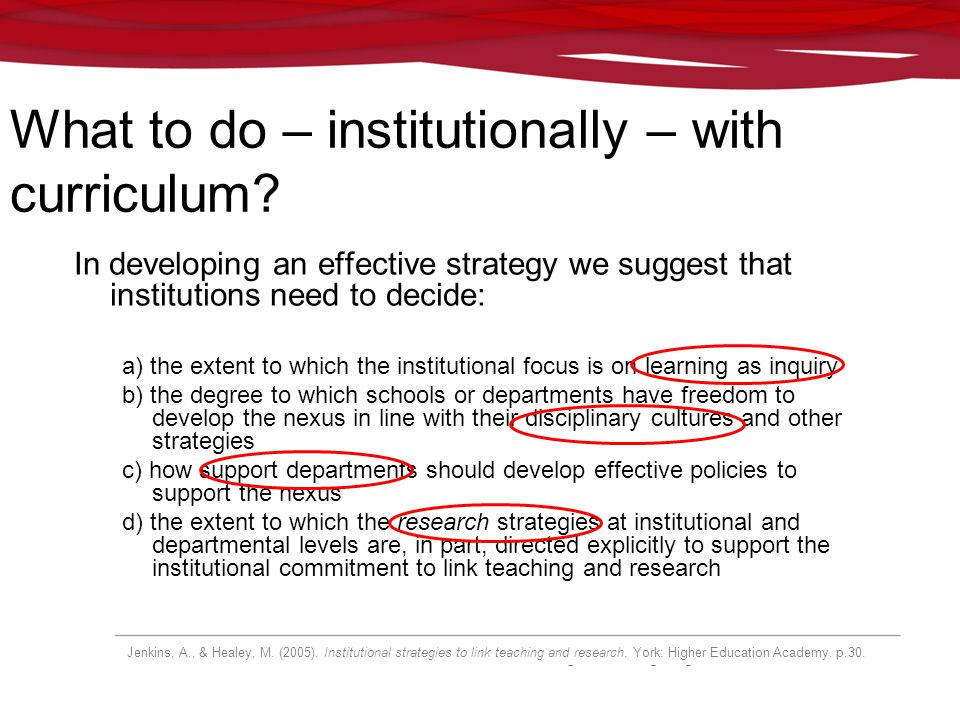 What to do – institutionally – with curriculum? In developing an effective strategy we suggest that institutions need to decide: a) the extent to whic