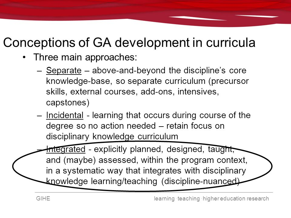 GIHE learning. teaching. higher education research Conceptions of GA development in curricula Three main approaches: –Separate – above-and-beyond the