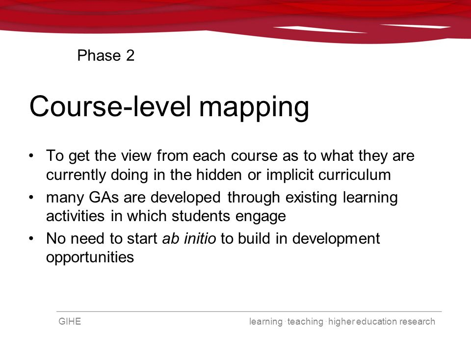 GIHE learning. teaching. higher education research Course-level mapping To get the view from each course as to what they are currently doing in the hi