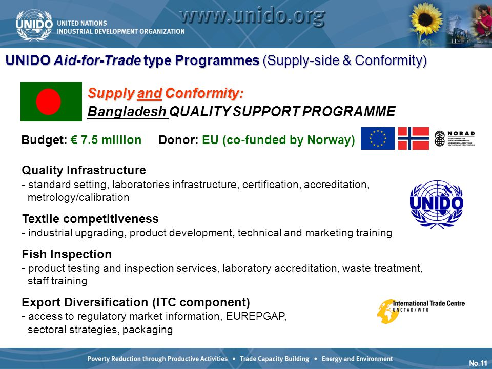 No.11 Quality Infrastructure - standard setting, laboratories infrastructure, certification, accreditation, metrology/calibration Textile competitiven