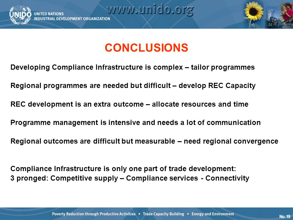 No.19 CONCLUSIONS Developing Compliance Infrastructure is complex – tailor programmes Regional programmes are needed but difficult – develop REC Capac