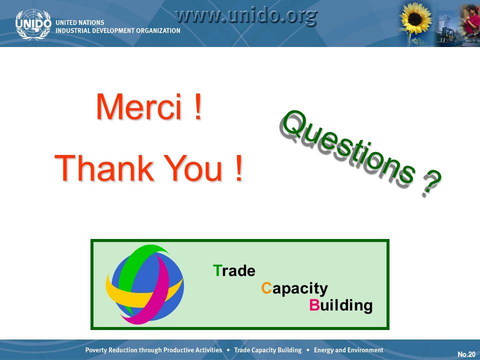 No.20 Questions ? Thank You ! Trade Capacity Building Merci !
