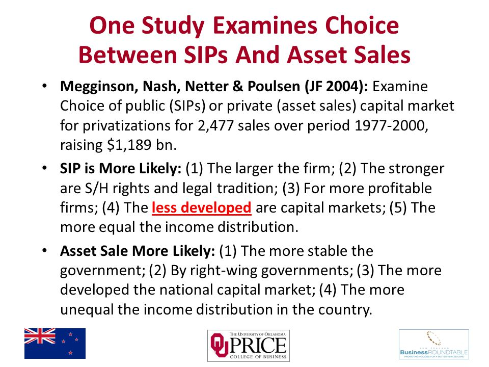 One Study Examines Choice Between SIPs And Asset Sales Megginson, Nash, Netter & Poulsen (JF 2004): Examine Choice of public (SIPs) or private (asset sales) capital market for privatizations for 2,477 sales over period 1977-2000, raising $1,189 bn.