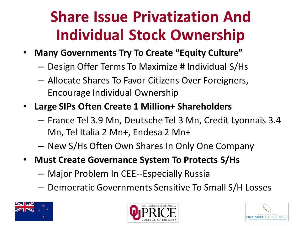 Share Issue Privatization And Individual Stock Ownership Many Governments Try To Create Equity Culture – Design Offer Terms To Maximize # Individual S/Hs – Allocate Shares To Favor Citizens Over Foreigners, Encourage Individual Ownership Large SIPs Often Create 1 Million+ Shareholders – France Tel 3.9 Mn, Deutsche Tel 3 Mn, Credit Lyonnais 3.4 Mn, Tel Italia 2 Mn+, Endesa 2 Mn+ – New S/Hs Often Own Shares In Only One Company Must Create Governance System To Protects S/Hs – Major Problem In CEE--Especially Russia – Democratic Governments Sensitive To Small S/H Losses