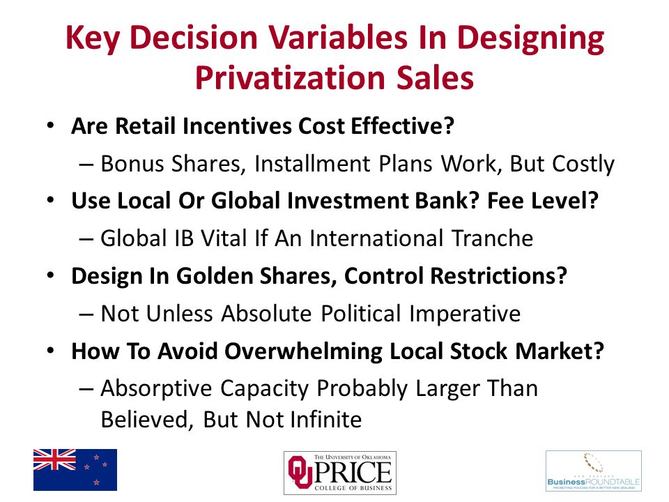 Key Decision Variables In Designing Privatization Sales Are Retail Incentives Cost Effective.