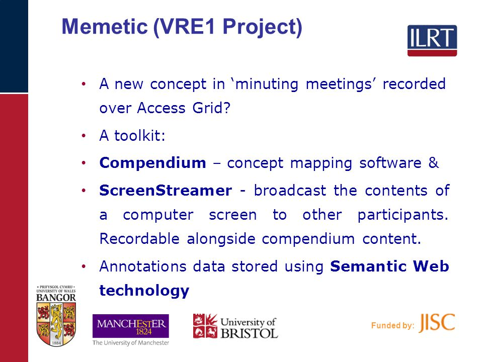 Funded by: Memetic (VRE1 Project) A new concept in 'minuting meetings' recorded over Access Grid.