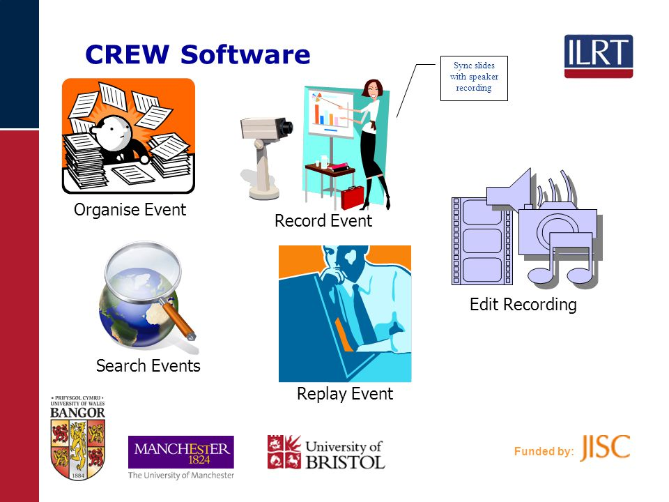 Funded by: CREW Software Record Event Edit Recording Search Events Replay Event Sync slides with speaker recording Organise Event