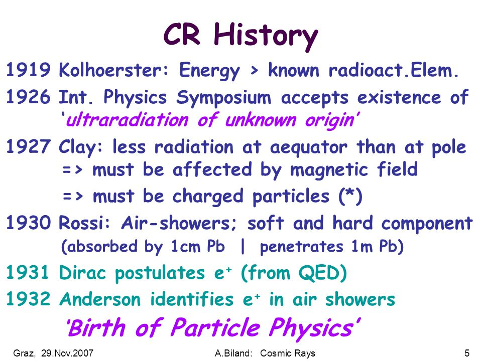 Graz, 29.Nov.2007A.Biland: Cosmic Rays5 CR History 1919 Kolhoerster: Energy > known radioact.Elem. 1926 Int. Physics Symposium accepts existence of. '