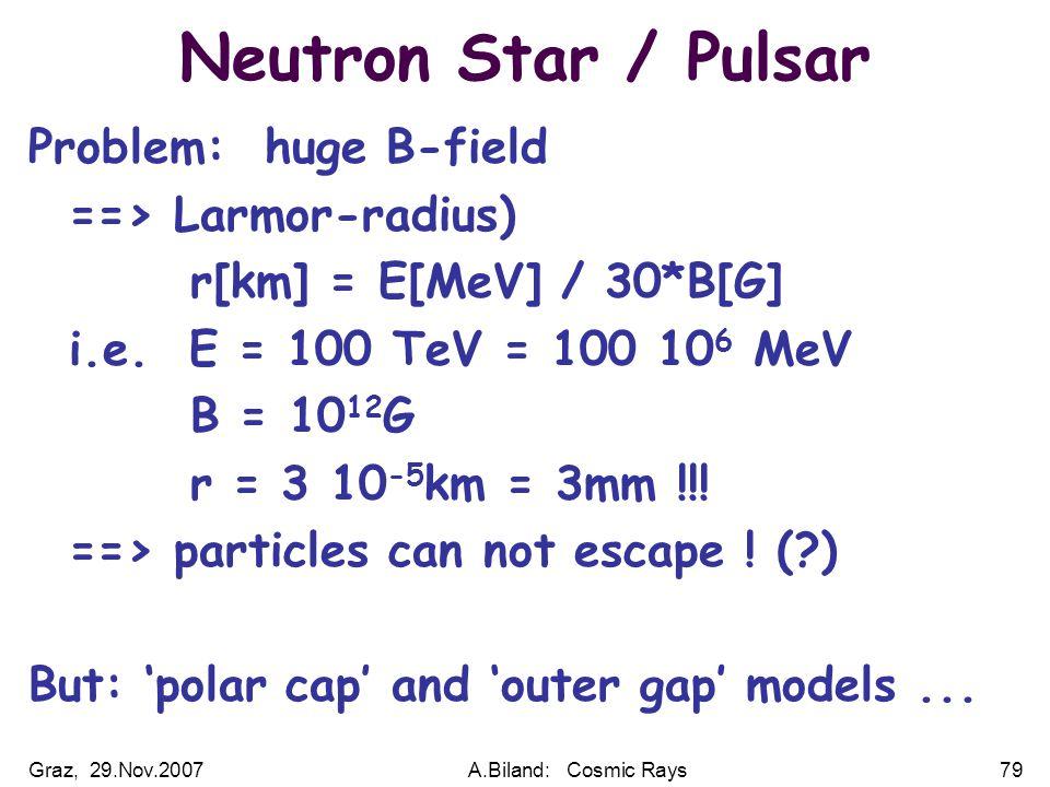 Graz, 29.Nov.2007A.Biland: Cosmic Rays79 Neutron Star / Pulsar Problem: huge B-field ==> Larmor-radius) r[km] = E[MeV] / 30*B[G] i.e.