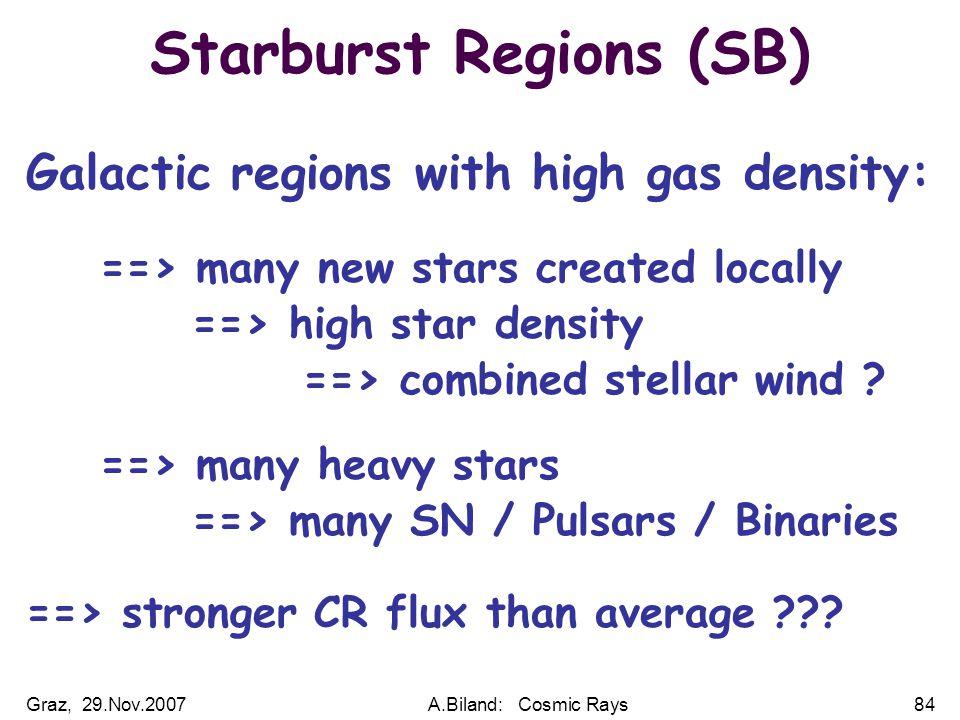 Graz, 29.Nov.2007A.Biland: Cosmic Rays84 Starburst Regions (SB) Galactic regions with high gas density: ==> many new stars created locally ==> high star density ==> combined stellar wind .