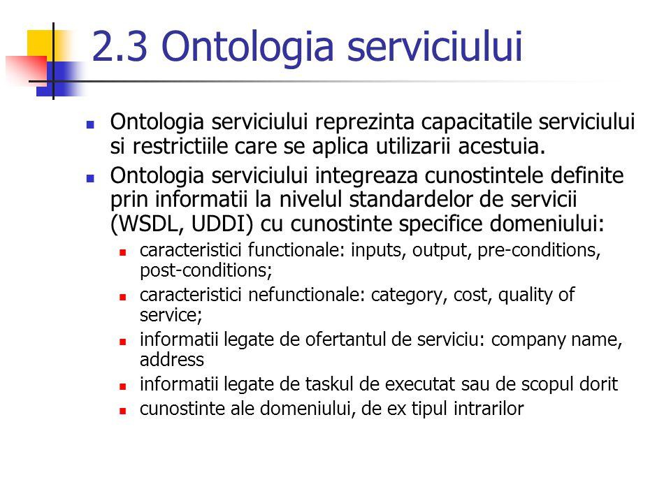 2.3 Ontologia serviciului Ontologia serviciului reprezinta capacitatile serviciului si restrictiile care se aplica utilizarii acestuia. Ontologia serv
