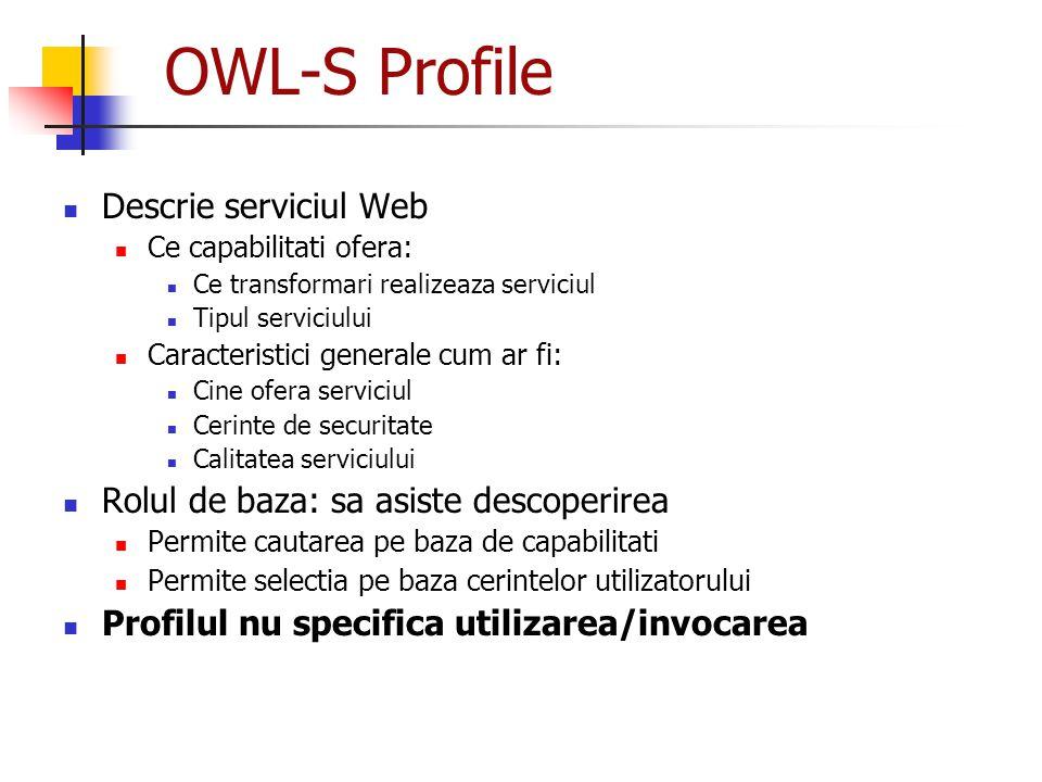 OWL-S Profile Descrie serviciul Web Ce capabilitati ofera: Ce transformari realizeaza serviciul Tipul serviciului Caracteristici generale cum ar fi: C