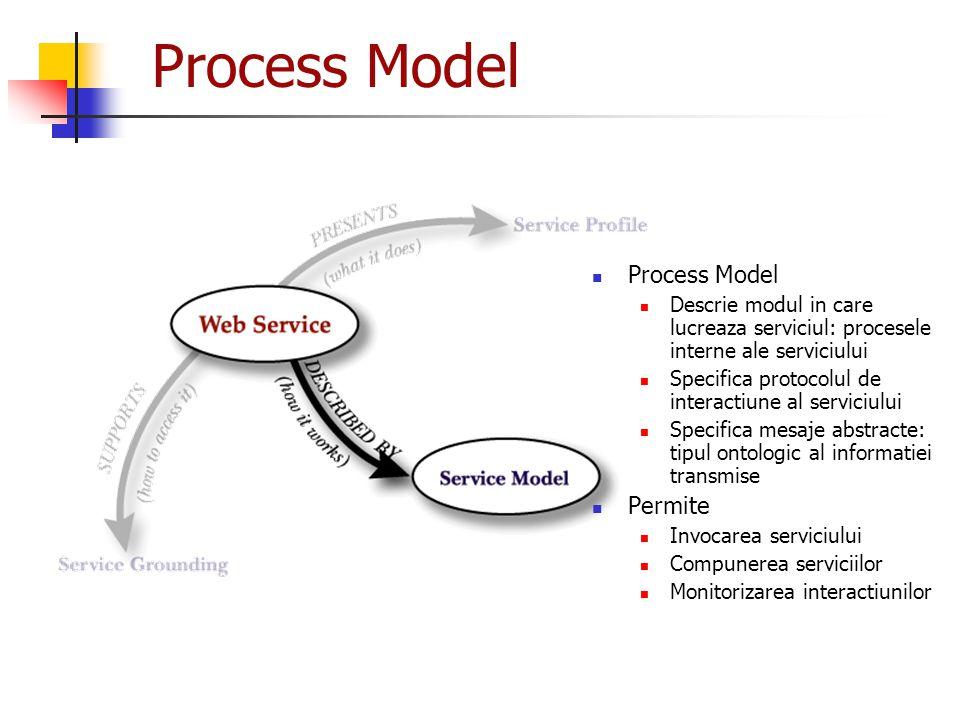 Process Model Descrie modul in care lucreaza serviciul: procesele interne ale serviciului Specifica protocolul de interactiune al serviciului Specific