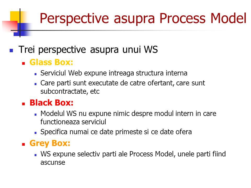Perspective asupra Process Model Trei perspective asupra unui WS Glass Box: Serviciul Web expune intreaga structura interna Care parti sunt executate