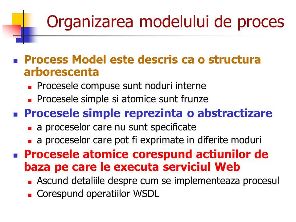 Organizarea modelului de proces Process Model este descris ca o structura arborescenta Procesele compuse sunt noduri interne Procesele simple si atomi