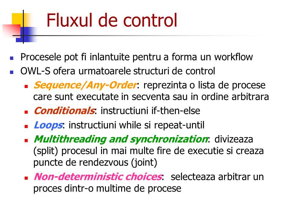 Fluxul de control Procesele pot fi inlantuite pentru a forma un workflow OWL-S ofera urmatoarele structuri de control Sequence/Any-Order: reprezinta o