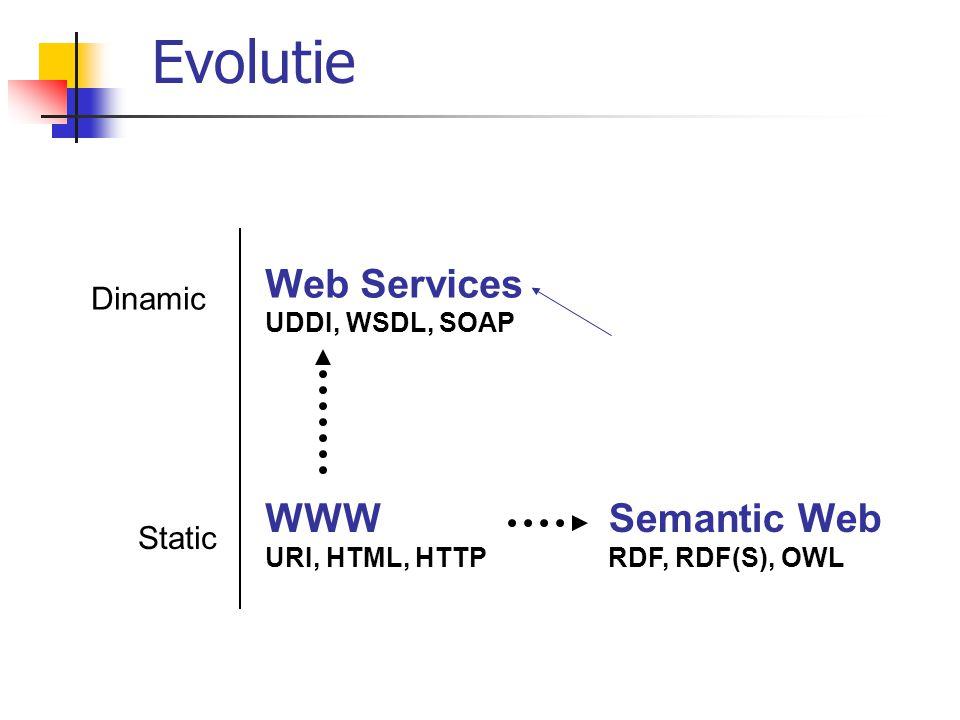 WWW URI, HTML, HTTP Semantic Web RDF, RDF(S), OWL Dinamic Web Services UDDI, WSDL, SOAP Static Evolutie