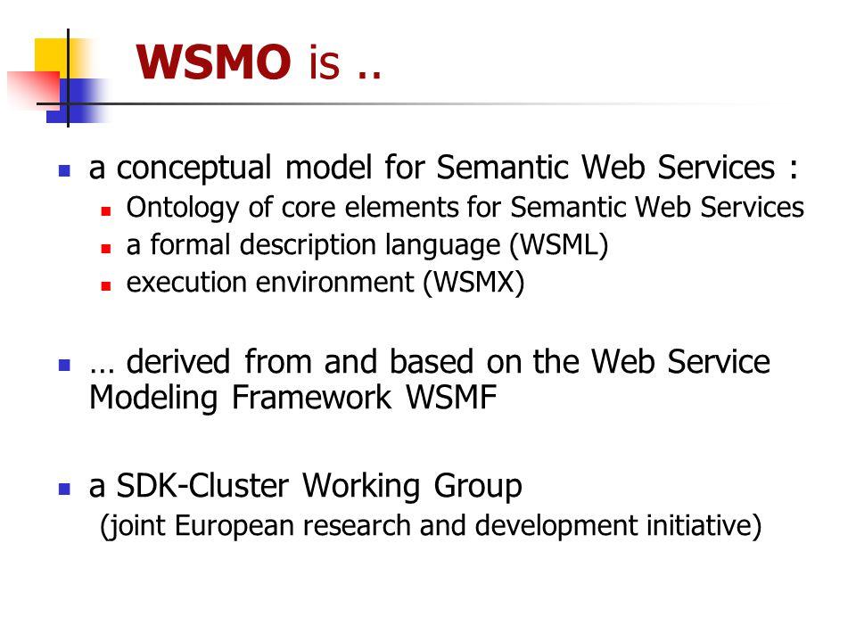 WSMO is.. a conceptual model for Semantic Web Services : Ontology of core elements for Semantic Web Services a formal description language (WSML) exec