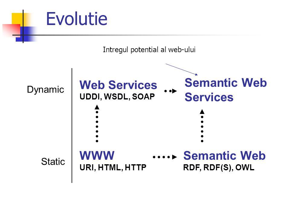 WWW URI, HTML, HTTP Intregul potential al web-ului Semantic Web RDF, RDF(S), OWL Dynamic Web Services UDDI, WSDL, SOAP Static Semantic Web Services Ev