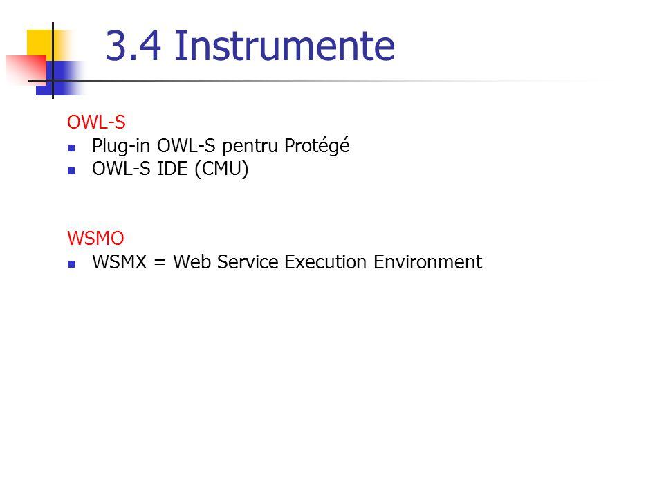3.4 Instrumente OWL-S Plug-in OWL-S pentru Protégé OWL-S IDE (CMU) WSMO WSMX = Web Service Execution Environment