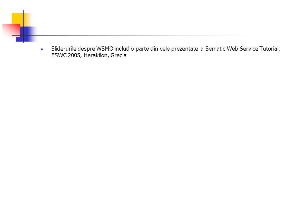 Slide-urile despre WSMO includ o parte din cele prezentate la Sematic Web Service Tutorial, ESWC 2005, Heraklion, Grecia