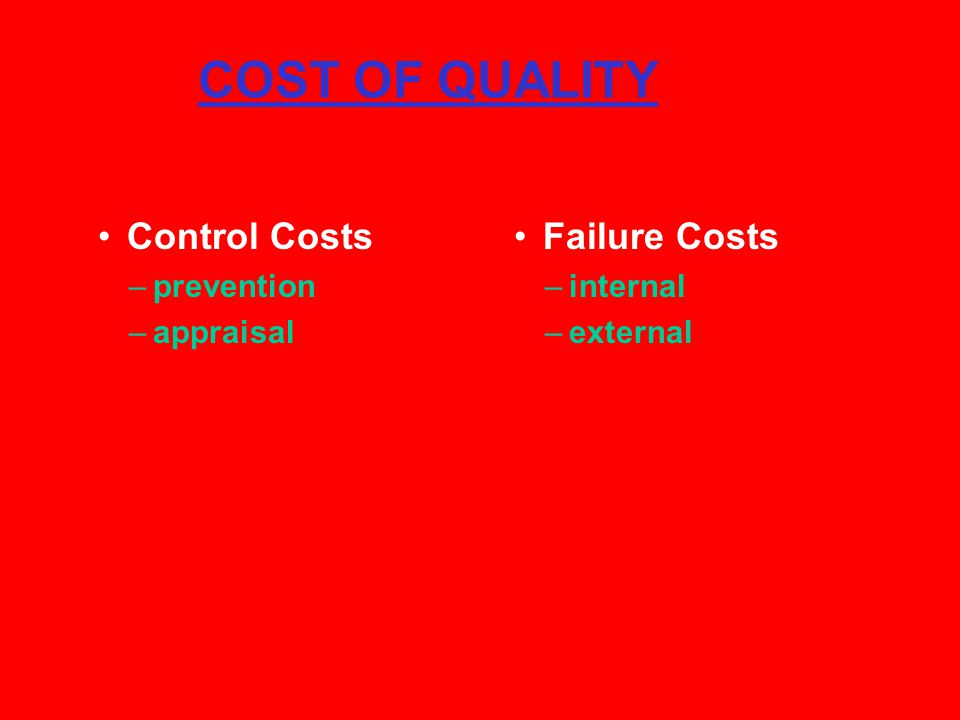 COST OF QUALITY Control Costs –prevention –appraisal Failure Costs –internal –external