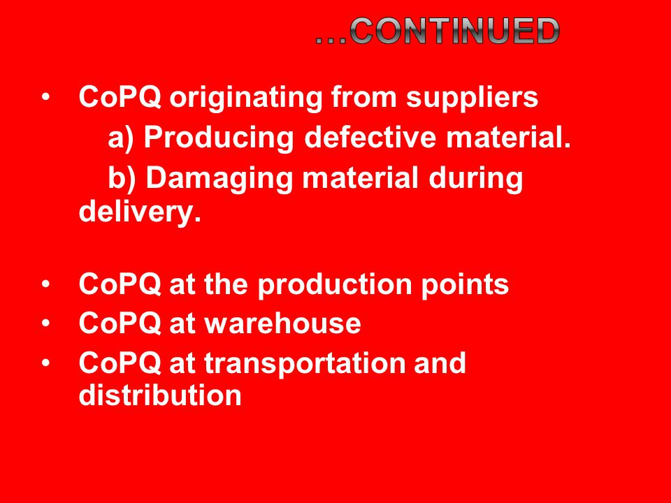 CoPQ originating from suppliers a) Producing defective material.