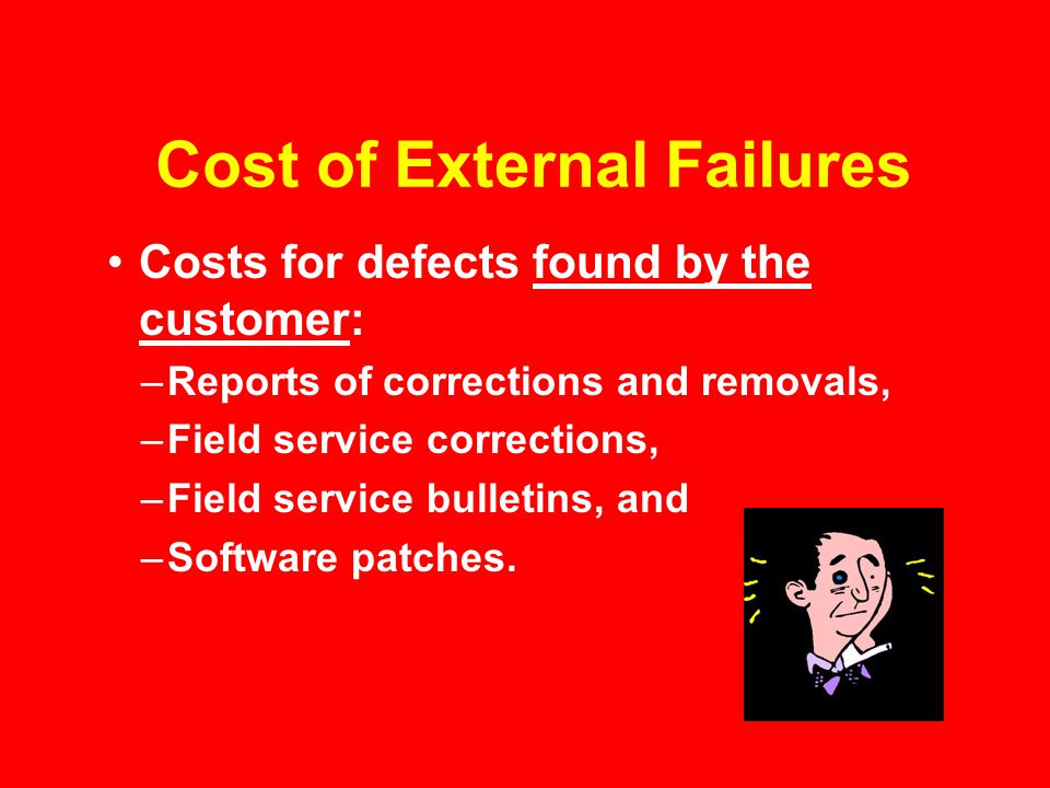 Cost of External Failures Costs for defects found by the customer: –Reports of corrections and removals, –Field service corrections, –Field service bulletins, and –Software patches.