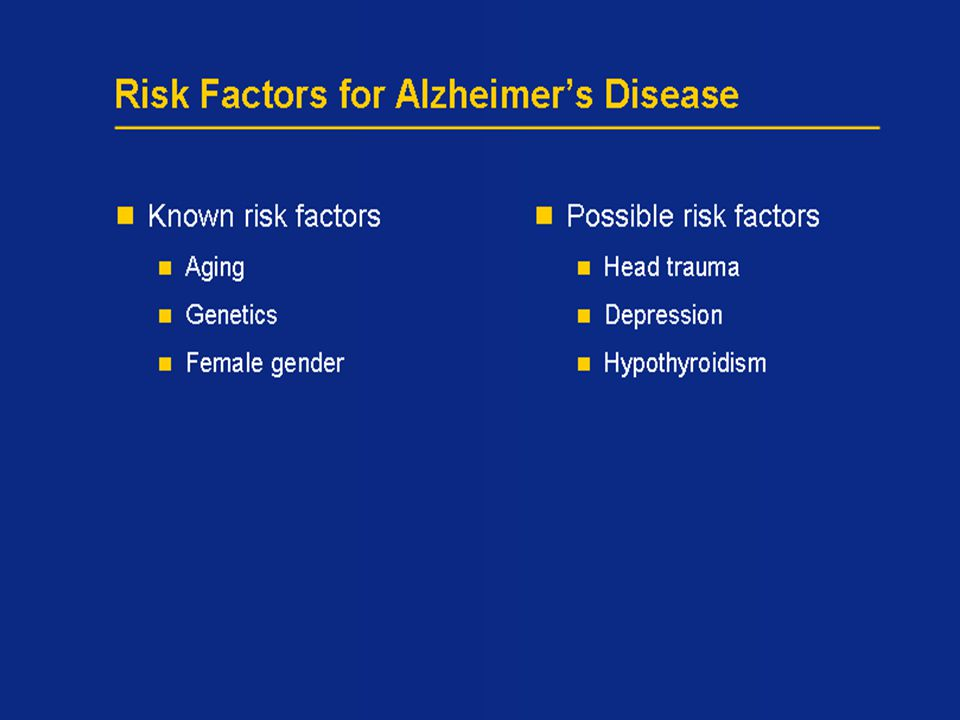 10 Risk Factors for Alzheimer's Disease