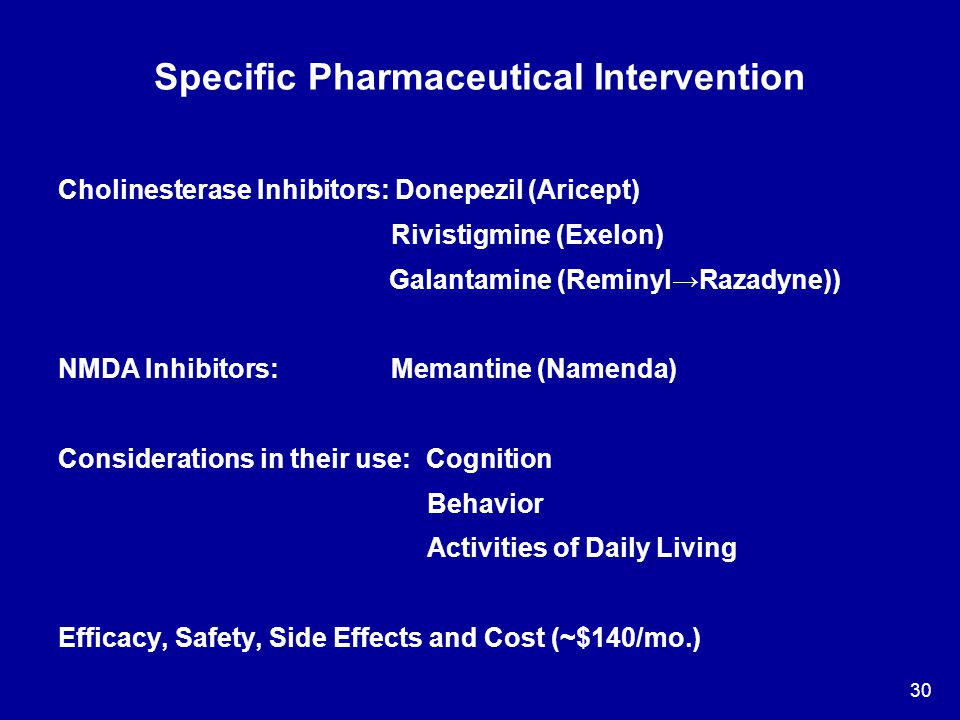 30 Specific Pharmaceutical Intervention Cholinesterase Inhibitors: Donepezil (Aricept) Rivistigmine (Exelon) Galantamine (Reminyl→Razadyne)) NMDA Inhi