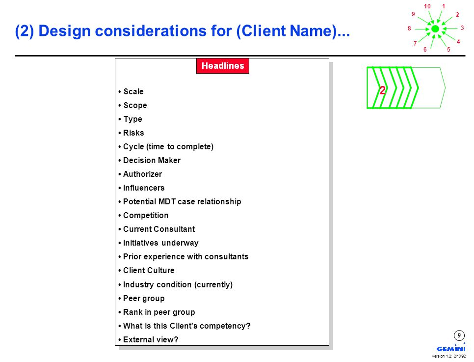 1 2 3 4 56 7 8 9 10 Version 1.2; 2/10/92 20 (6) Execute Project Start-Up for (Client Name)...