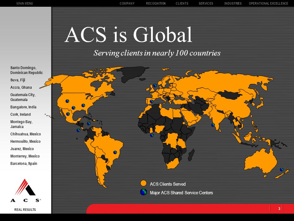 REAL RESULTS CLIENTSOPERATIONAL EXCELLENCECOMPANYSERVICESINDUSTRIESMAIN MENURECOGNITION 23 ACS has a lot of integrity.