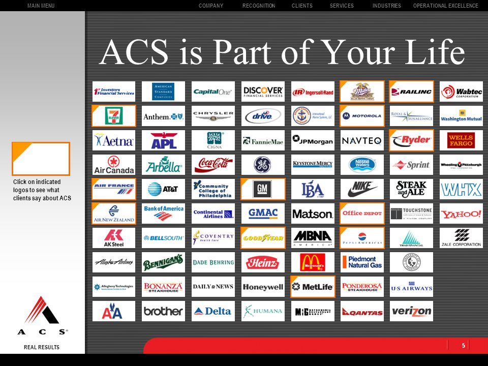 MAIN MENU REAL RESULTS CLIENTSOPERATIONAL EXCELLENCECOMPANYSERVICESINDUSTRIESRECOGNITION 5 ACS is Part of Your Life Click on indicated logos to see what clients say about ACS