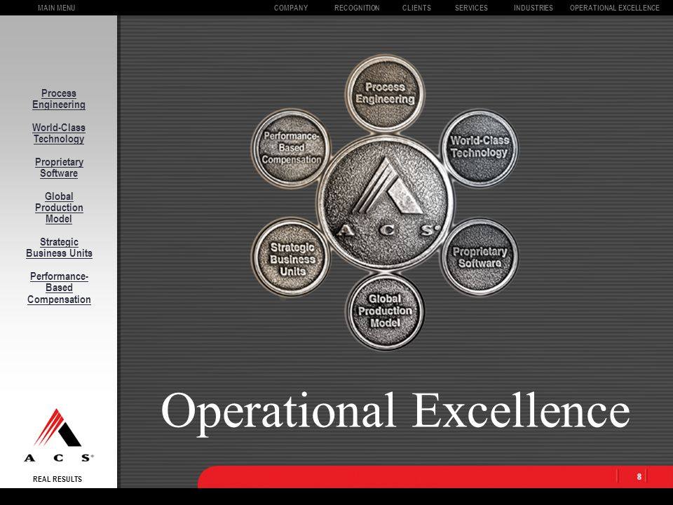 MAIN MENU REAL RESULTS CLIENTSOPERATIONAL EXCELLENCECOMPANYSERVICESINDUSTRIESRECOGNITION 8 Process Engineering World-Class Technology Proprietary Software Global Production Model Strategic Business Units Performance- Based Compensation Operational Excellence