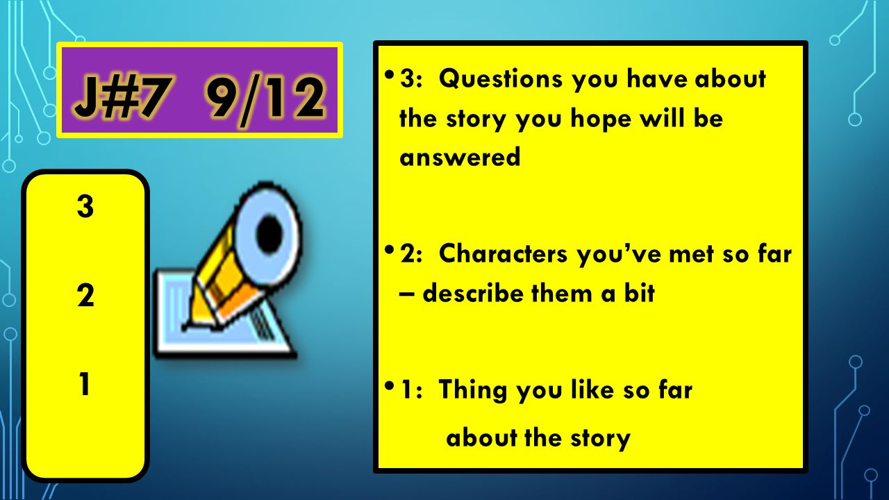 3: Questions you have about the story you hope will be answered 2: Characters you've met so far – describe them a bit 1: Thing you like so far about the story 321321