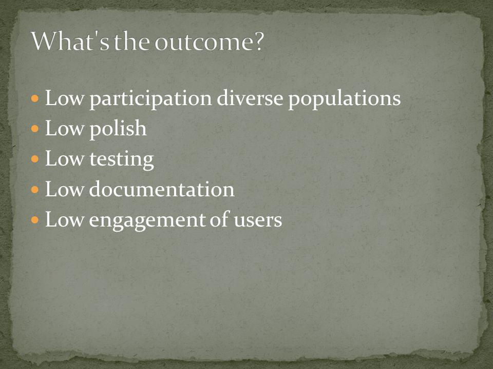 Low participation diverse populations Low polish Low testing Low documentation Low engagement of users