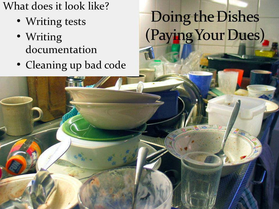 What does it look like Writing tests Writing documentation Cleaning up bad code