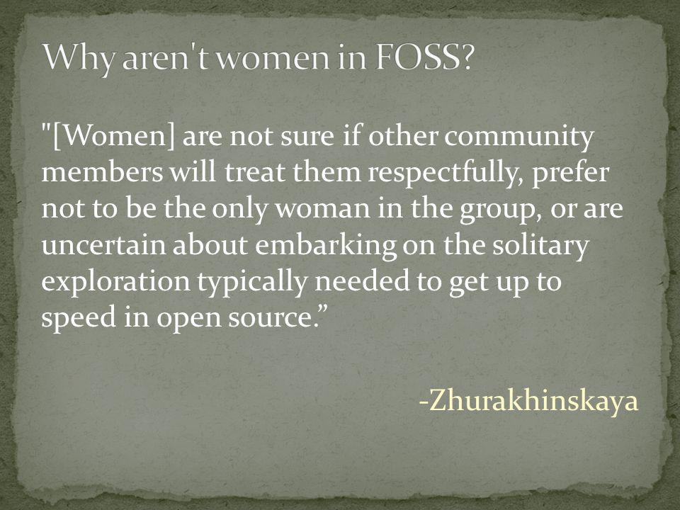 [Women] are not sure if other community members will treat them respectfully, prefer not to be the only woman in the group, or are uncertain about embarking on the solitary exploration typically needed to get up to speed in open source. -Zhurakhinskaya