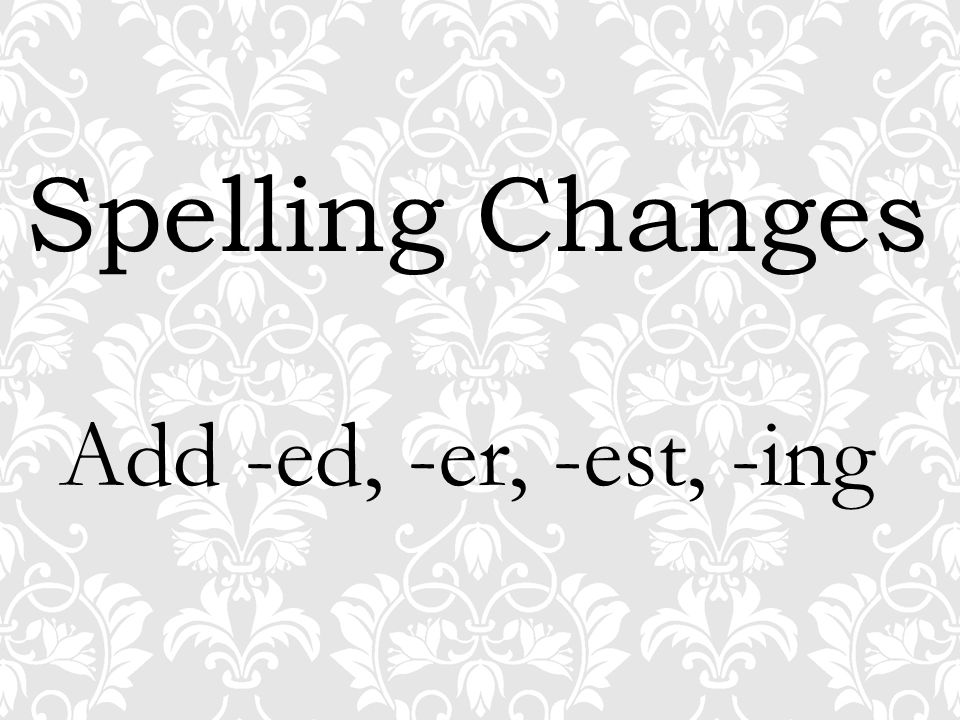 Spelling Changes Add -ed, -er, -est, -ing