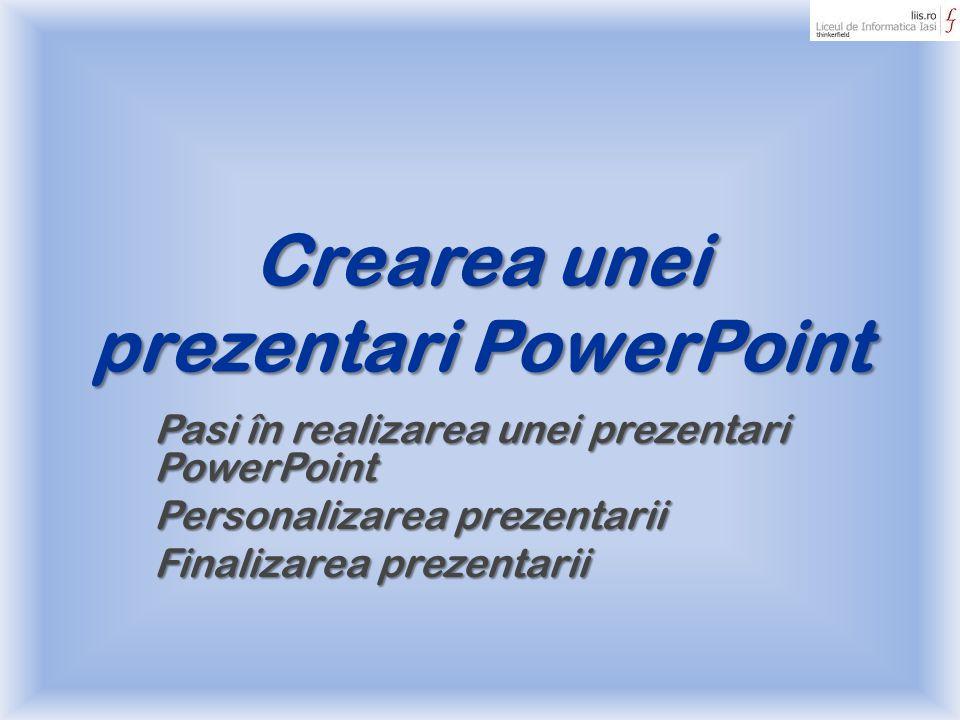 Crearea unei prezentari PowerPoint Pasi în realizarea unei prezentari PowerPoint Personalizarea prezentarii Finalizarea prezentarii