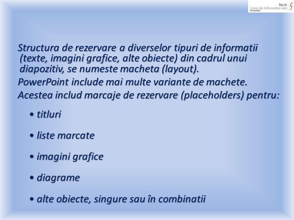 Structura de rezervare a diverselor tipuri de informatii (texte, imagini grafice, alte obiecte) din cadrul unui diapozitiv, se numeste macheta (layout
