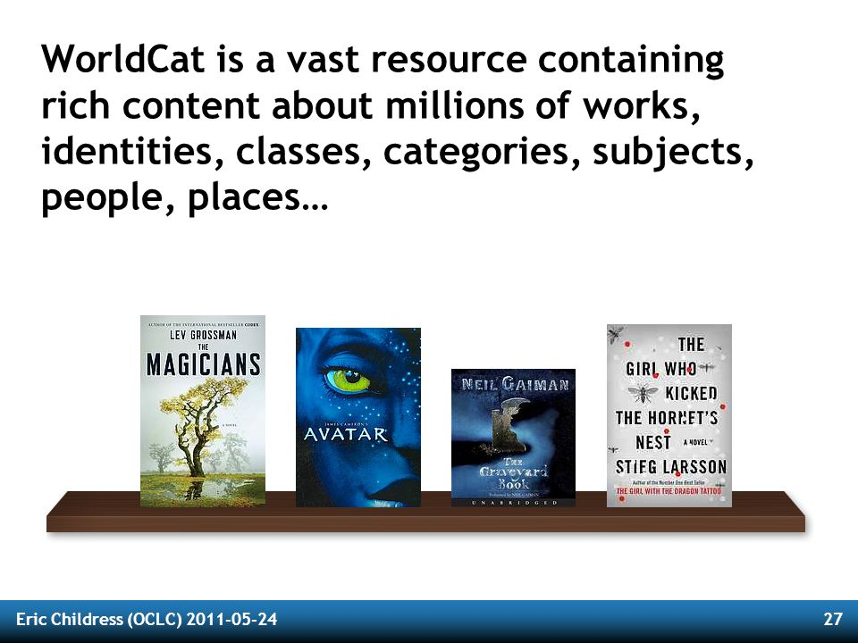 Eric Childress (OCLC) 2011-05-2427 WorldCat is a vast resource containing rich content about millions of works, identities, classes, categories, subjects, people, places…
