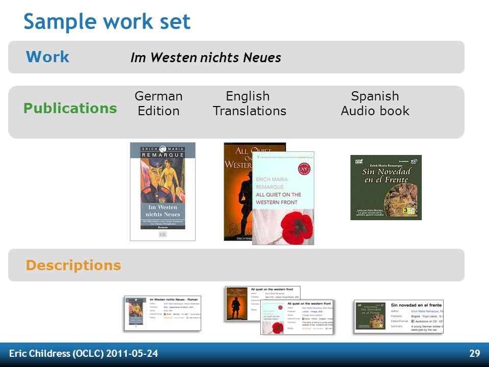 Eric Childress (OCLC) 2011-05-2429 Sample work set Work Im Westen nichts Neues Publications German Edition English Translations Spanish Audio book Descriptions