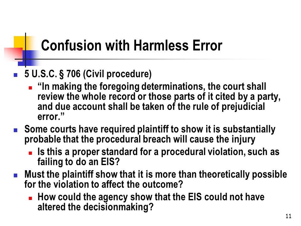 Confusion with Harmless Error 5 U.S.C.