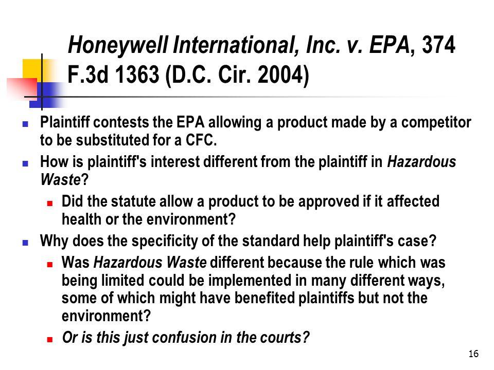16 Honeywell International, Inc. v. EPA, 374 F.3d 1363 (D.C.