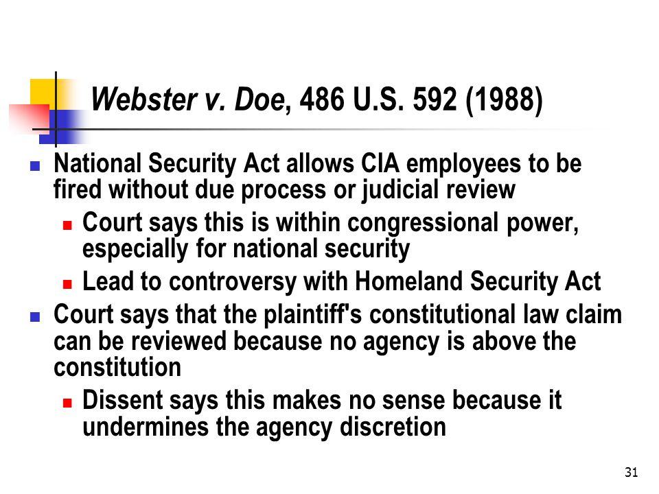 31 Webster v. Doe, 486 U.S.